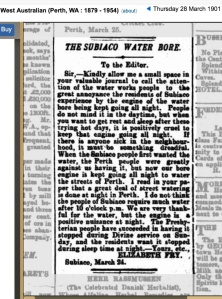 New water bore installed in Subiaco in 1901